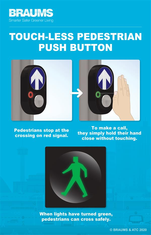 BRAUMS Touch-Less Pedestrian Push Button Infographic
